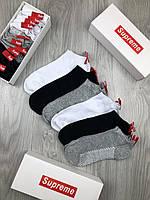 Носки SUPREME копия реплика черные белые серые хлопок в трех цветах