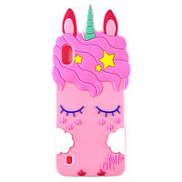 Резиновый 3D чехол для Samsung Galaxy A10 2019 A105 Единорог (Розовый)