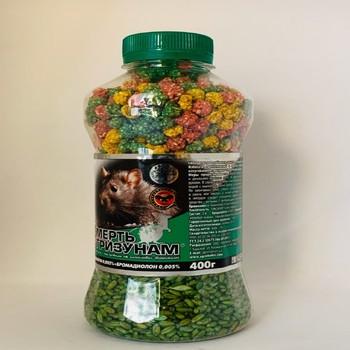 Смерть грызунам 2 в 1 зерно зеленое + гранула микс банка, 400г — родентицид