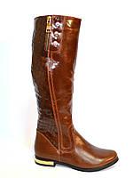 Сапоги высокие коричневые зимние кожаные на меху, декорированы молнией., фото 1