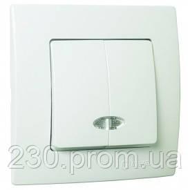 Выключатель 2кл с подсветкой белый LILLIUM natural KARE