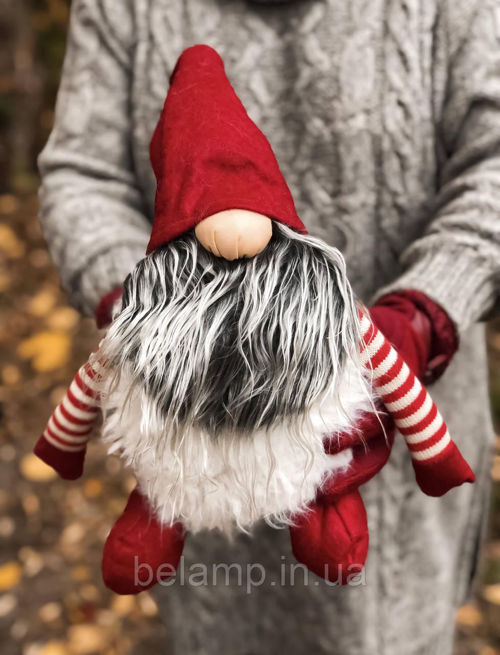 Новогоднее украшение «Огромный гном». красный
