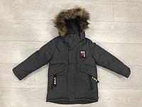 Зимняя детская куртка для мальчика с нашивкой от 3 до 7 лет,серого цвета
