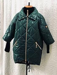 Демисезонная стильная куртка больших размеров зеленая
