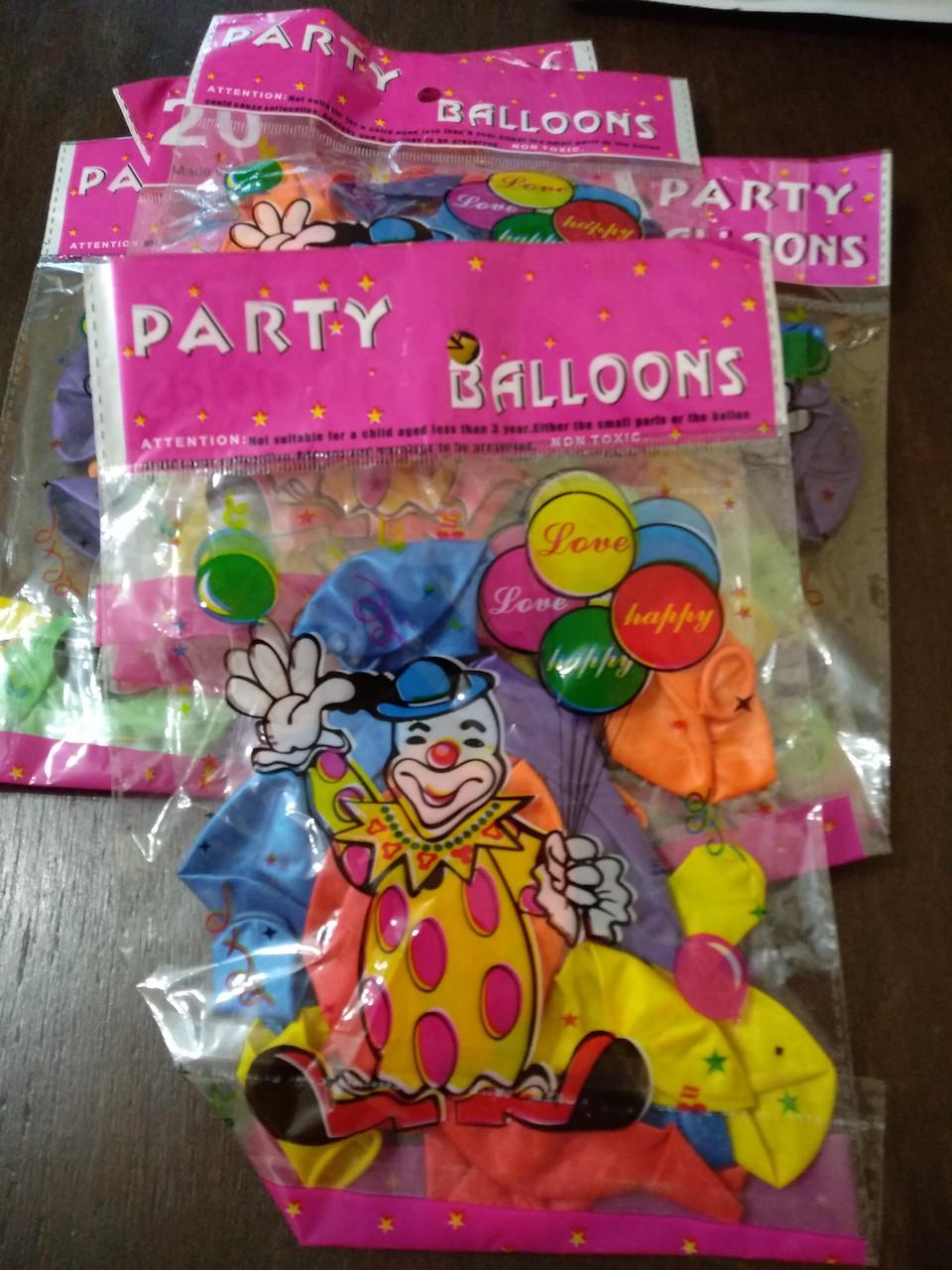 Шарики надувные для праздника 20 шт в упаковке