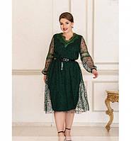 Приталенное платье с расклешённым подолом №740-темно-зеленый