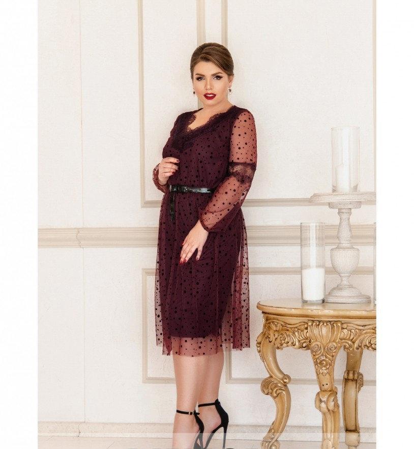 Приталенное платье с расклешённым подолом №740-бордо