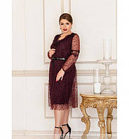 Приталенное платье с расклешённым подолом №740-бордо, фото 1