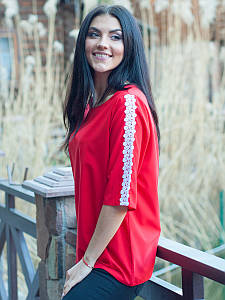 Красная женская блуза с ажуром. #I/Z
