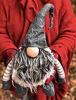Новогоднее украшение «Огромный гном». серый, фото 1