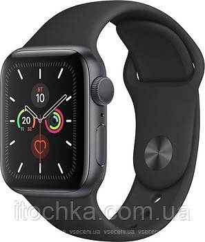Apple Watch Series 5 40mm Space Gray Aluminum Case with Black Sport Band (MWV82)