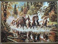 """Картина из янтаря """"Бегущие по реке кони"""" 60х80 см"""