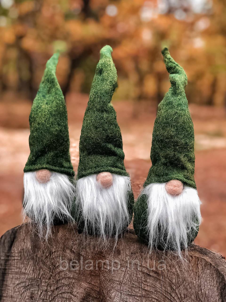 """Новогоднее украшение «Мягкий зелёный гном"""""""