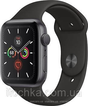 Apple Watch Series 5 44mm Space Gray Aluminum Case with Black Sport Band (MWVF2)