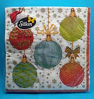 """Салфетки новогодние бумажные Silken """"Новогодние шары"""" 3 слоя 18 штук"""
