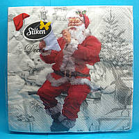"""Салфетки новогодние бумажные Silken """"Санта с письмом"""" 3 слоя 18 штук"""