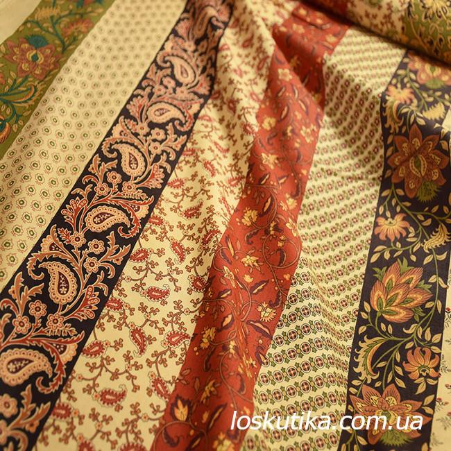 53007 Узорный орнамент. Ткань с цветочным орнаментом для декора. Американский хлопок.