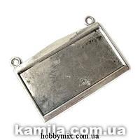 """Сеттинг """"прямоугольный"""" серебро (4,8х3,4 см) 1 шт в уп."""