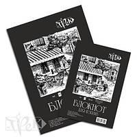 Блокнот для эскизов А5 (14.8х21 см) на склейке черная бумага 80 г/м.кв. 50 листов «Трек» Украина