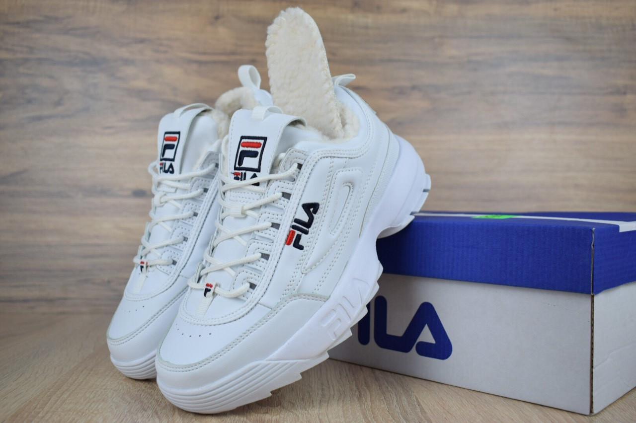 Зимові кросівки Fila disruptor 2 з хутром (білі) - Унісекс