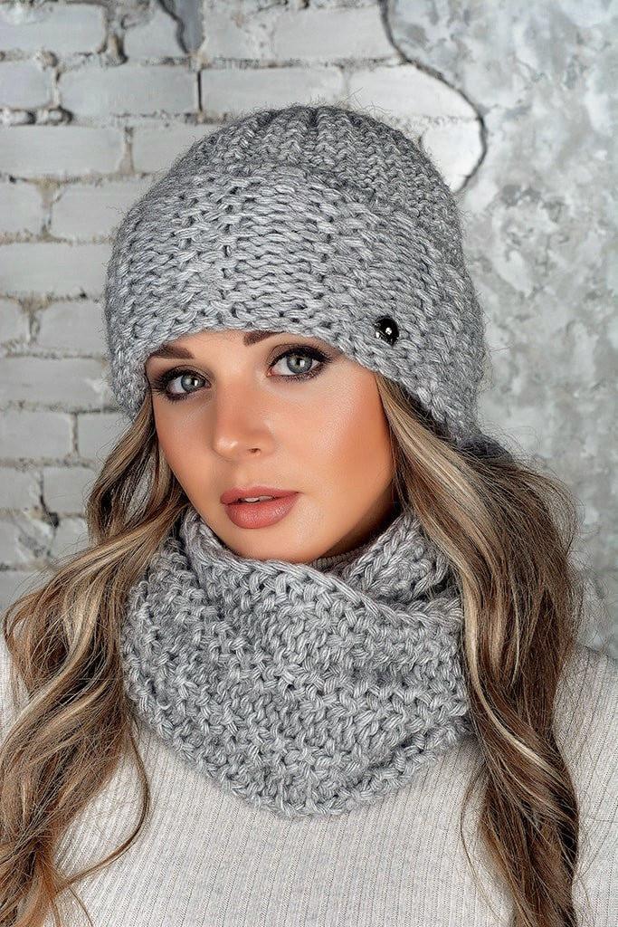 Комплект (шапка и снуд-хомут) Flirt Стилари One Size серый