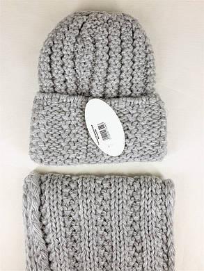 Комплект (шапка и снуд-хомут) Flirt Стилари One Size серый, фото 2