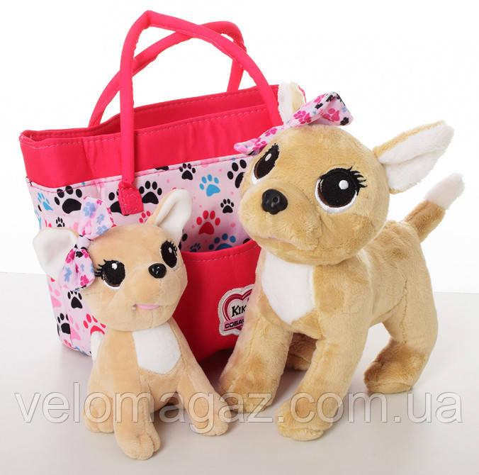 Интерактивная собачка Кикки с щеночком в сумочке, интерактивная игрушка (20 см и 15 см), M 5428 UA
