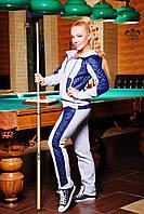 """Утепленный женский костюм """"Мейди"""" (серый меланж+темно-синий), фото 1"""
