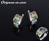 Комплект ювелирных украшений Серьги и кольцо *Россыпь алмазов* из серебра и золота.