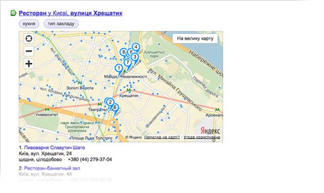 Как выглядит организация при поиске на Яндексе