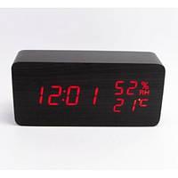 Часы-метеостанция  (будильник, градусник, датчик влажности) Wooden Clock VST-862W черные с красной