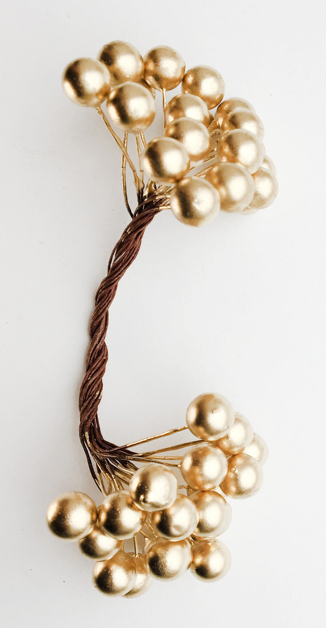 Ягодки  декоративный золотистые 12 мм 50 шт