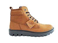 Зимние кожаные ботинки мужские коричневые Мида 14392 379
