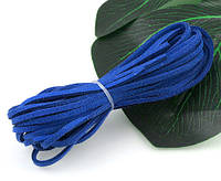 Отрез по 1 метру! Замшевый шнур искусств. 3мм, Синий замшевый шнур, фото 1