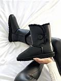 Женские кожаные зимние Ugg (black), женски угги, черные кожаные угги (Реплика ААА), фото 9