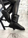 Женские кожаные зимние Ugg (black), женски угги, черные кожаные угги (Реплика ААА), фото 2
