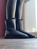 Женские кожаные зимние Ugg (black), женски угги, черные кожаные угги (Реплика ААА), фото 4