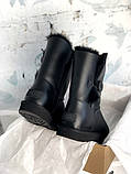 Женские кожаные зимние Ugg (black), женски угги, черные кожаные угги (Реплика ААА), фото 7