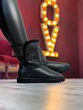 Женские кожаные зимние Ugg (black), женски угги, черные кожаные угги (Реплика ААА), фото 3