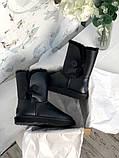 Женские кожаные зимние Ugg (black), женски угги, черные кожаные угги (Реплика ААА), фото 8
