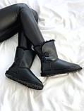 Женские кожаные зимние Ugg (black), женски угги, черные кожаные угги (Реплика ААА), фото 5