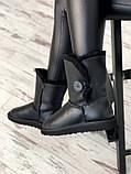 Женские кожаные зимние Ugg (black), женски угги, черные кожаные угги (Реплика ААА), фото 6