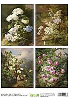 Декупажная карта 26 Живые цветы 55  г/м2, А4, 200Х280 мм