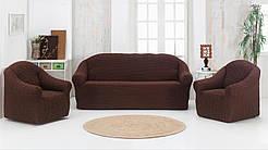 Турецкий чехол натяжной на трехместный диван и два кресла без оборки Venera, накидка на диван