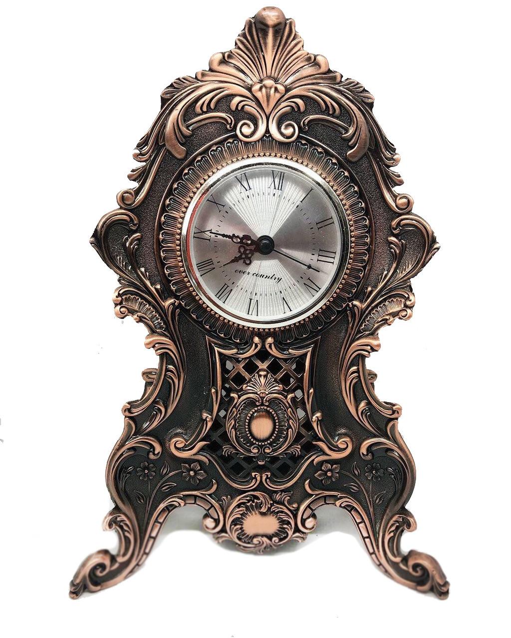 Настольные каминные часы MCA Vizyon из мельхиора с посеребрением под медь