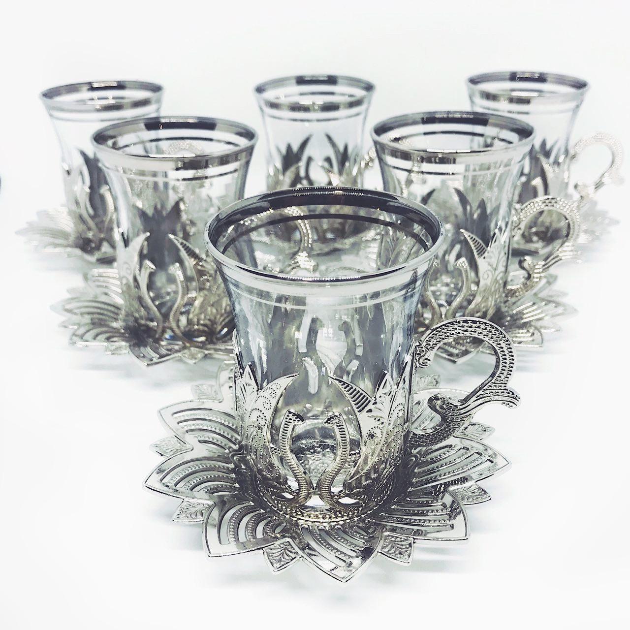 Турецькі рюмки з серії side MCA Vizyon з мельхіору в сріблі преміум якості набір з 6 штук