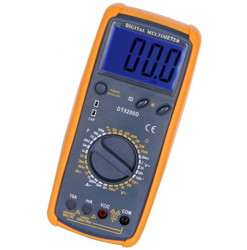 Мультиметр DT8200D з вимірюванням ємності(CAP), напруги, сили струму