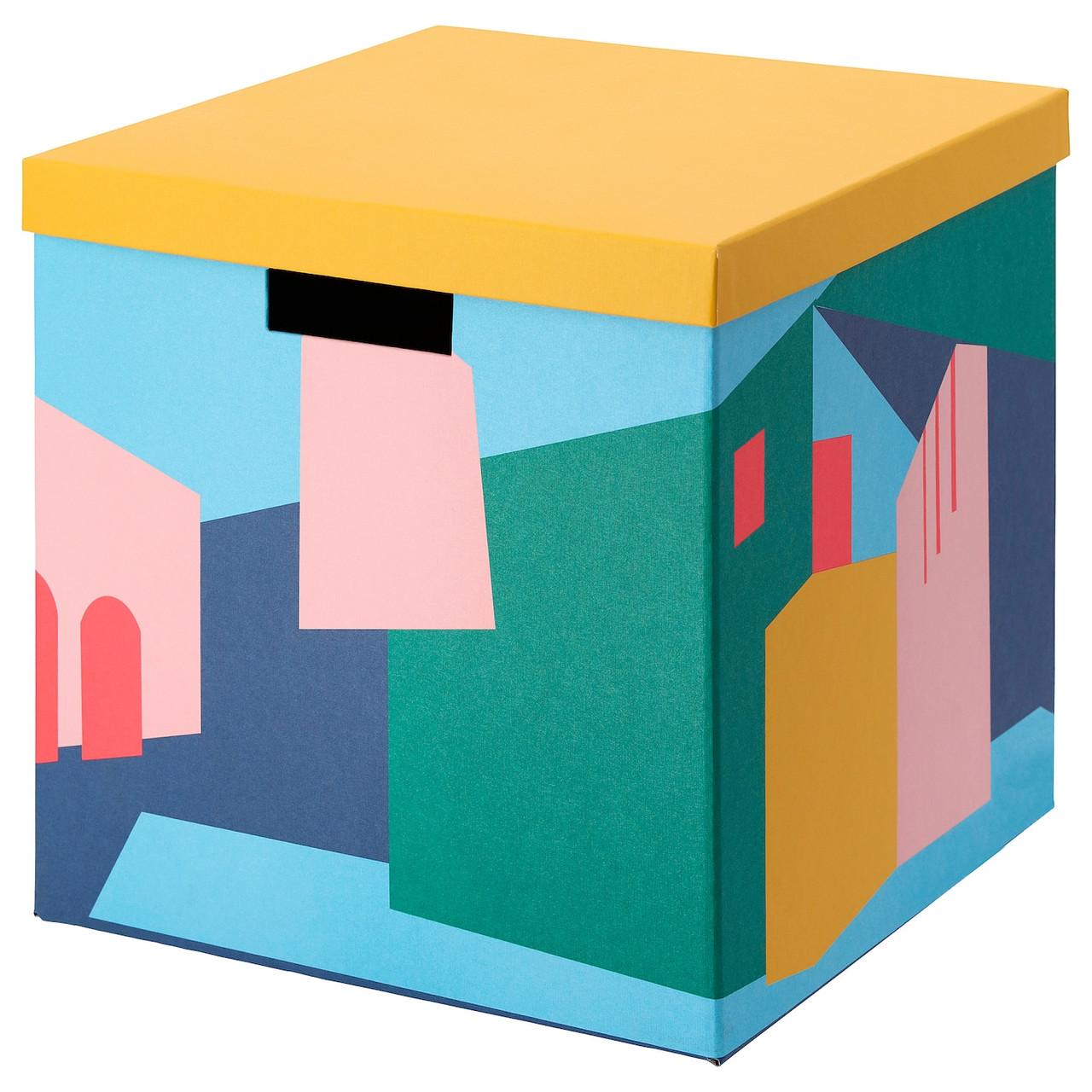 Коробка с крышкой IKEA TJENA 30x30x30 см см желтый 604.341.37