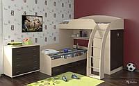 Детская двухъярусная кровать чердак дм 137 с комодом