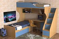 Детская двухъярусная кровать чердак дм86 ( защита, лестница-комод,полки, стол)